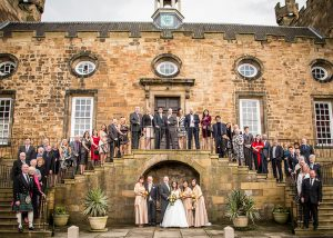 lumley castle wedding group photo