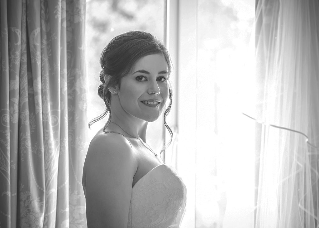black white bride window