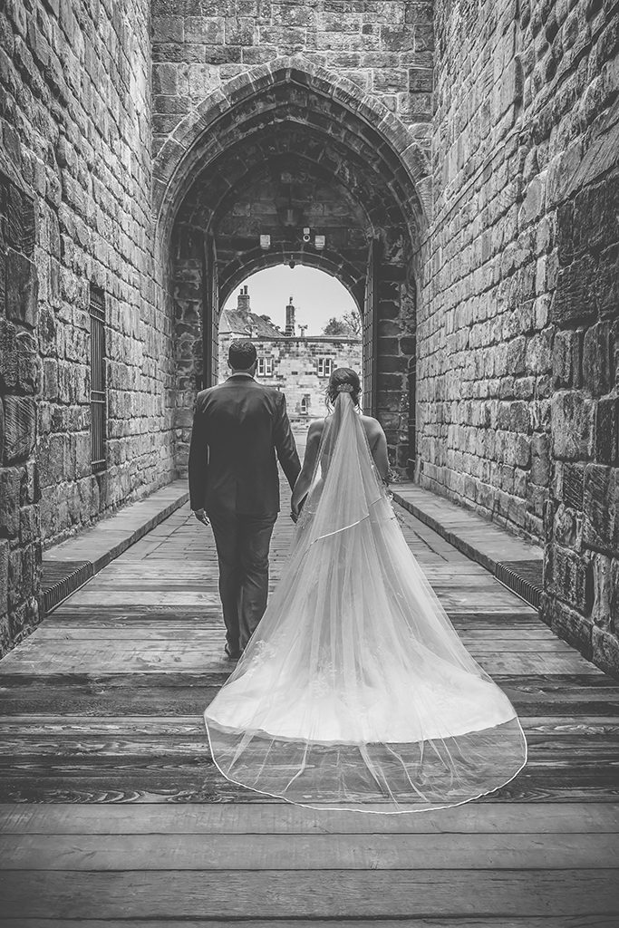 black white wedding photo alnwick castle