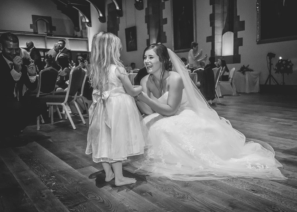 bride and flower girl bw