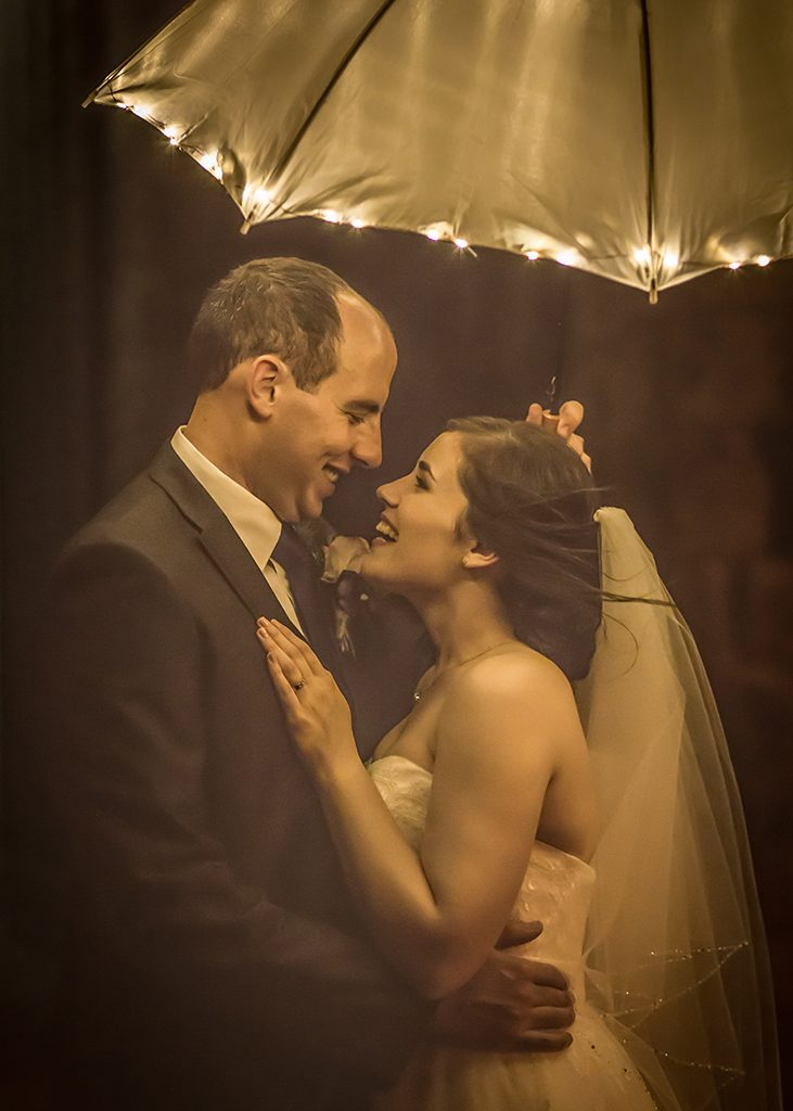 wedding umbrella lights vintage look