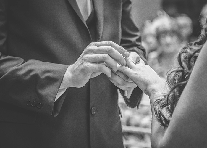 exchanging rings black and white