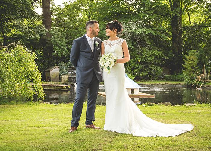 old vicarage castleside bride and groom