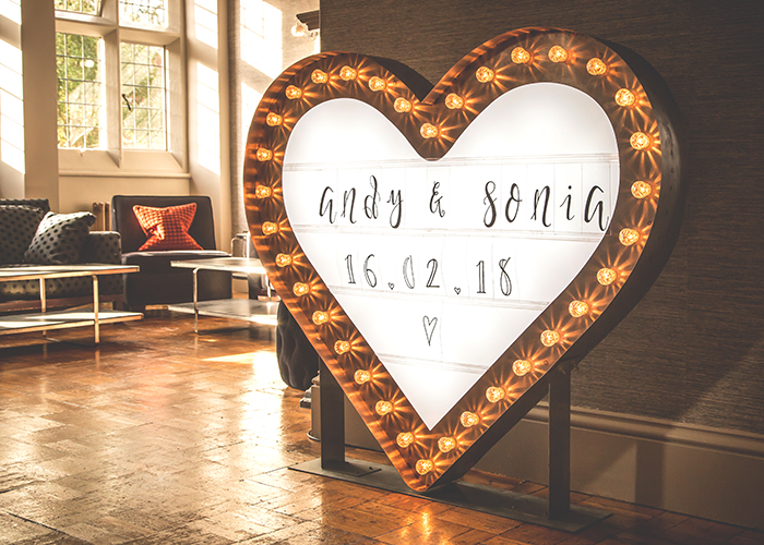 jesmond dene house wedding coco lumiere sign