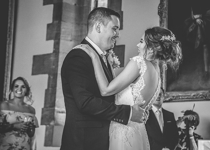 laughing during first dance