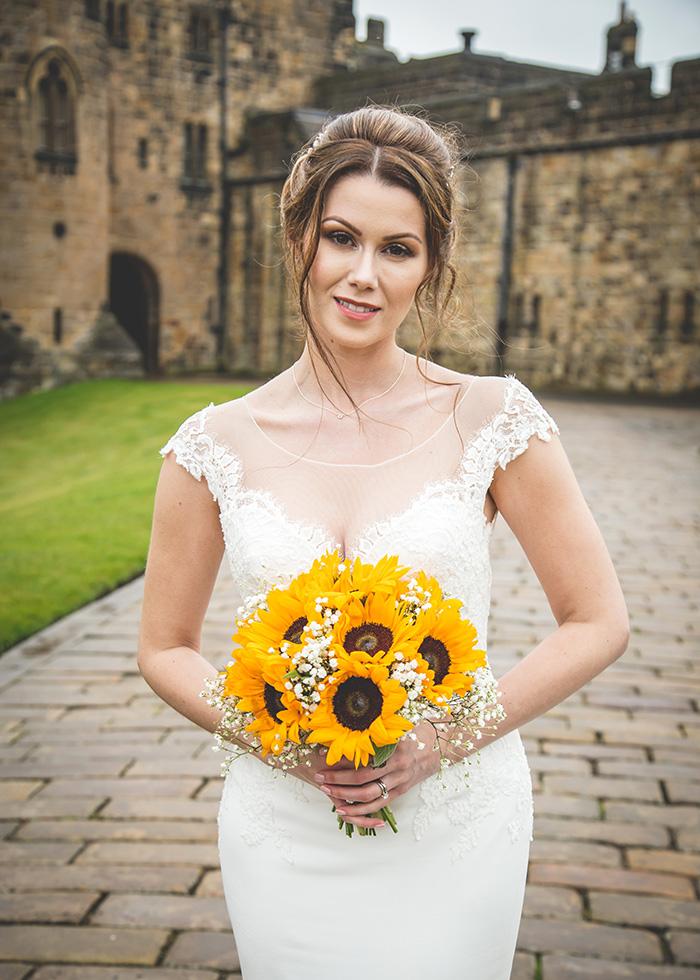 bride portrait at alnwick castle