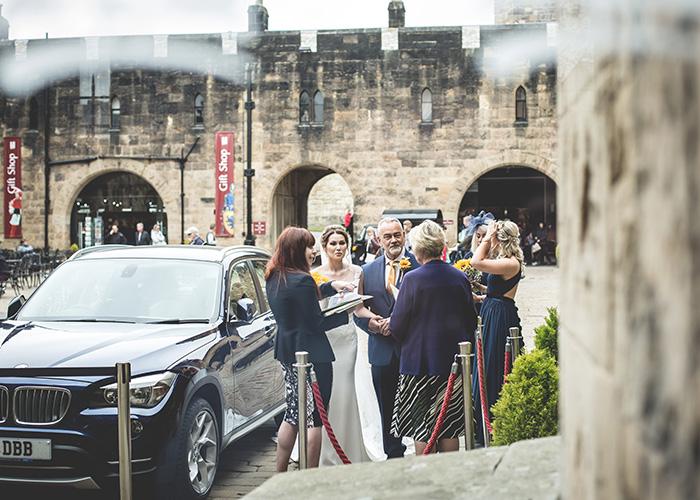 wedding car arriving