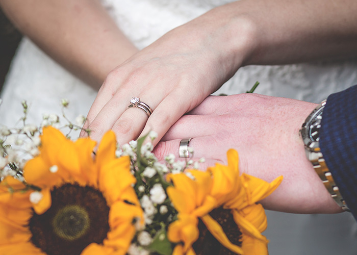 close up of wedding ring and hands