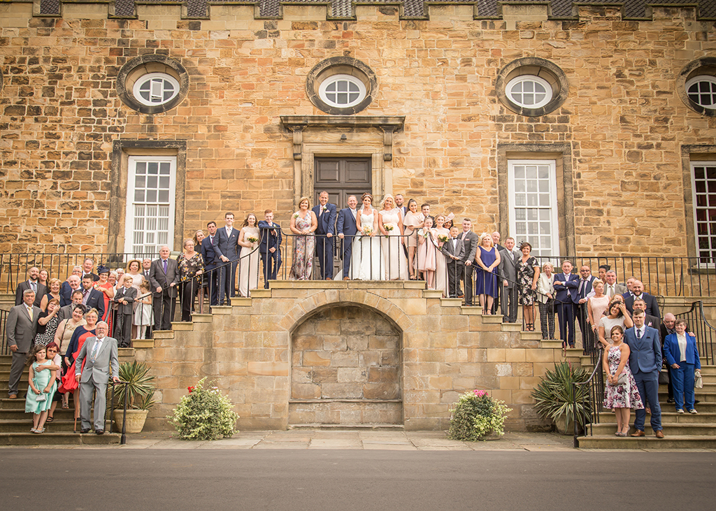 lumley castle durham wedding group photo
