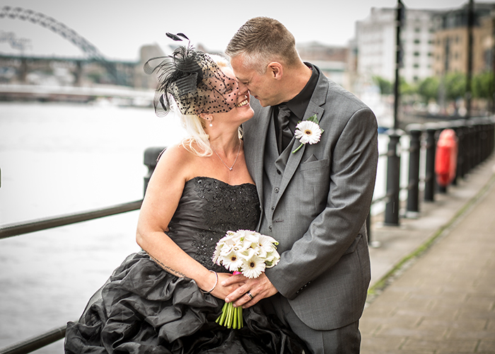 black wedding dress photo