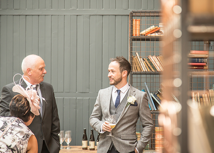 wylam brewery groom with guest reportage wedding photography