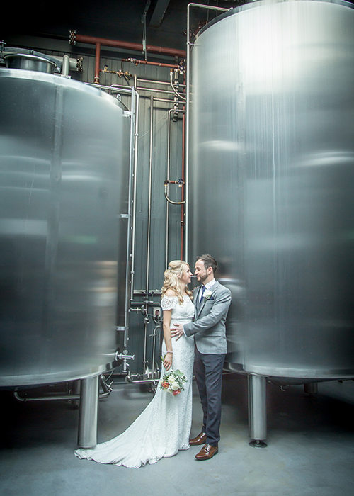 bride and groom in wylam brewery